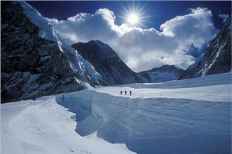 Climbers in the Western Cwm of Mount Everest