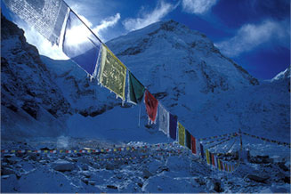 Prayer flags and high cirrus, Mount Everest Base Camp