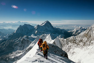 Jamling Norgay and Araceli Segarra at 27, 600' on the Southeast Ridge of Mount Everest.
