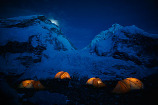 Glowing Tents at Mount Everest Base Camp, 17,600'