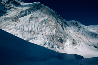 Two climbers approaching the Western Cwm of Mount Everest, 19,800'